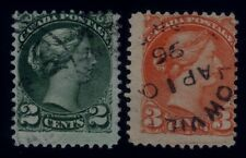 """Canada 2 Cents & 3 Cents Small Queens - Cracked Plate variety - """"Scratches"""" Fine"""