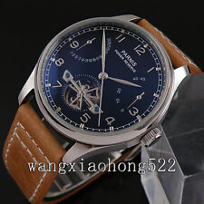43mm Parnis black dial Seagull movement Power Reserve automatic men's watch 234