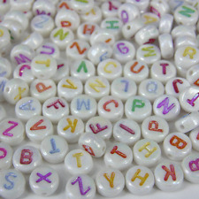 600 x 7mm Pastel Colour Assorted Alphabet Letter Beads Round Circle AB2