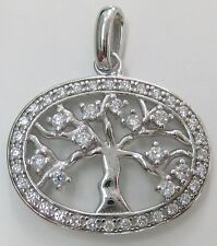 925 STERLING SILVER TREE OF LIFE WITH CZ FRUITS ON BRANCHES OVAL PENDANT