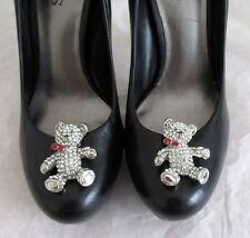 Handmade jewel encrusted bridal wedding ocassion teddy bear shaped shoe clips
