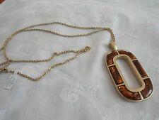 "Lia Sophia Ember 30-33"" Necklace Tortoise shell brown gold"