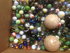 Vintage Lot Childs Collection Shooting Marbles 200 Glass etc Misc 4 lbs HELP ?