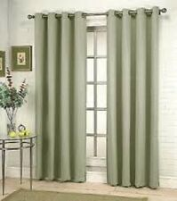 2PCS MIRA SAGE GREEN SOLID GROMMET FAUX SILK WINDOW CURTAINS PANELS 95""