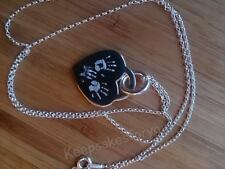 Personalised Footprint, Handprint & Text Engraved Sterling Pendant & 20in Chain