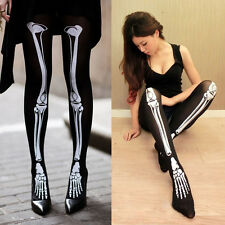 Women Trendy White Skeleton Bone Tattoo Stocking Leggings Socks