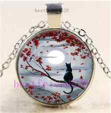 Black Cat In Moonlight Cabochon Glass Dome Silver Chain Pendant Necklace