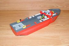 Genuine LEGO Red / Gray 16 x 4 Bow Boat / Fire Ship With Extras *INCOMPLETE-READ