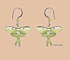 Bamboo Jewelry LUNA MOTH Cloisonne EARRINGS STERLING Silver Dangle - Gift Boxed