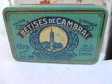 Ancienne petite boite en tôle lithographiée Bétises de Cambrai A.Hutin