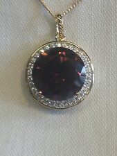 Gold Plated Silver Ruby Red and White Cubic Zirconia Pendant W15mm RRP £36.99