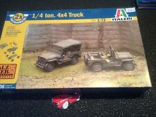 ITALERI 1/72 UNMADE MODELKIT ALZER WARGAMES APPROVED 1/4 TON 4X4 TRUCK JEEP X2