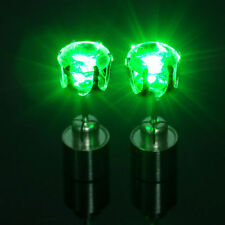 2PCS Fashion Green Light Up LED Bling Earrings Ear Studs Dance Party Accessories