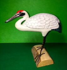 WOODEN BIRD WHOOPING CRANE HAND CARVED AND HAND PAINTED-7""