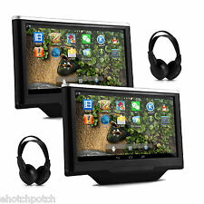 """Pair 10.1"""" Android 4.4 Car Rear Headrest Player GPS PC Tablet Monitor+Headphones"""