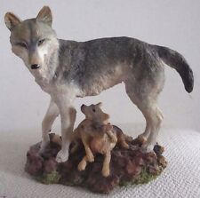1998 Wolf & Pups Figurine Gentle Guardian Majestic Wolf Family David Geenty