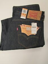 Levis 501 Jeans New Size 36 x 34 Rigid Dark Blue straight Mens Button Fly #37460