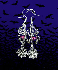 CREEPY SPOOKY PURPLE CRYSTAL SPIDER WEB DANGLE SILVER EARRINGS~HALLOWEEN GIFT