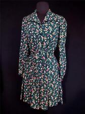 VERY RARE COLLECTOR'S FLORAL FRENCH VINTAGE 1940'S WWII ERA RAYON DRESS SIZE 6+