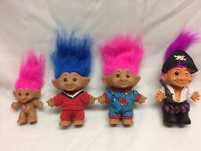 "Vintage GUC Troll 4 Doll Toy Lot Ace Novelty Russ Pirate 5"" &3"" Pink Purple Hair"