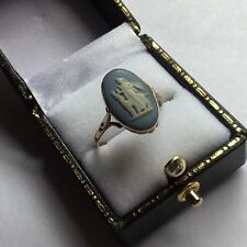 Hallmarked 9ct 9k Yellow Gold Wedgwood Pale Blue Jasper Ring