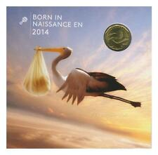 Born in 2014 Baby Gift Coin Set Struck Stork Loonie $1 Canadian Mint