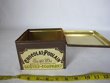 Vintage Retro Chocolat Poulain Little Girl Tin Can Storage Box Container Cute
