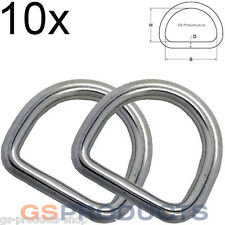 10x 5mm x 50mm  A4-AISI 316 Stainless Steel Dee D Ring FREE Postage & Packaging!