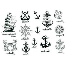 Removeab Fashion Waterproof Sailor Anchors Body Art Temporary Tattoos Sticker