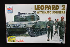 YC022 ESCI 1/35 maquette tank char 5030 Leopard 2 with Nato soldiers