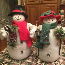 Mr And Mrs Santa Claus Snowmen Stuffed Large