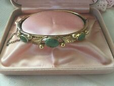 Antique Vintage Gold hinged Bangle Jade stones in Leaf design with safety chain