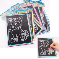 2/6/10X Magic Scratch Art Painting Paper With Drawing Stick Kids Educational Toy