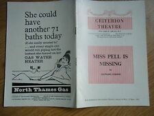 Programme Miss Pell Is Missing, Criterion Theatre,12th Sept 1952, Richard Briars