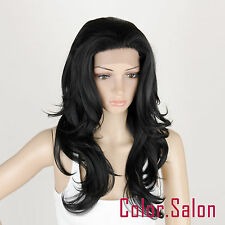 Lace Front Full Wigs Glue Free Synthétique Perruque Noir 92#1B