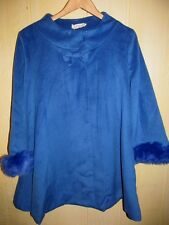 NEW Lolita Fashion Coat Women Size Large 12/14 Swing Poncho Cape Style Faux Fur