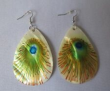 New Shell Like Fashion Earrings With Peacock Feather Painting In 6 Colors.