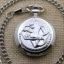 Silver Tone Fullmetal Alchemist Quartz Pocket Watch Rough Crude Chain Men P423CW