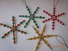 Kit to make 4 Beaded Wire Snowflakes,Christmas,Window Decoration