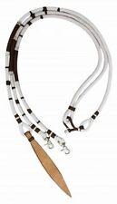 8' WHITE & BROWN Braided Nylon Romal Reins w/ Leather Poppers! NEW HORSE TACK!
