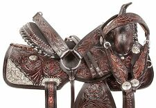 15 16 17 ARABIAN HORSE SHOW WESTERN EQUITATION SILVER BROWN LEATHER SADDLE TACK