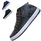 Fashion Casual Men High Top Sneakers Lace Up Canvas Shoes Board Trainers Flats