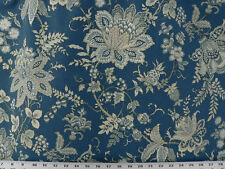 Drapery Upholstery Fabric Contemporary Floral on 100% Cotton Duck - Dark Blue