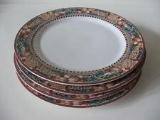 """Sakura Pine Cone Debbie Munn 4 Dinner Plates 10 7/8"""" Diameter Christmas Winter"""