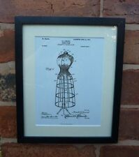 USA Patent vintage ladies bedroom Tailors DRESS FORM DUMMY MOUNTED PRINT 1904