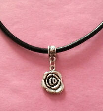 Black Leather Choker Necklace with Silver English Rose Charm - New - UK Seller