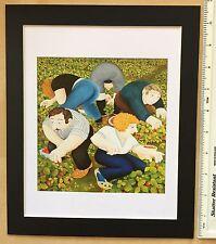 """Beryl cook """"fraise pickers"""" monté art imprimé 11"""" x 9"""": neuf: fun, jour"""