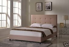 LT BROWN Upholstered QUEEN Size Platform Bed Frame & Slats Modern Home Bedroom