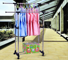 Heavy Duty Collapsible Adjustable Clothing Rolling Double Garment Rack Hanger