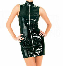 Sexy Black Glossy Faux Latex Dress High Neck Sleeveless Zipper Front